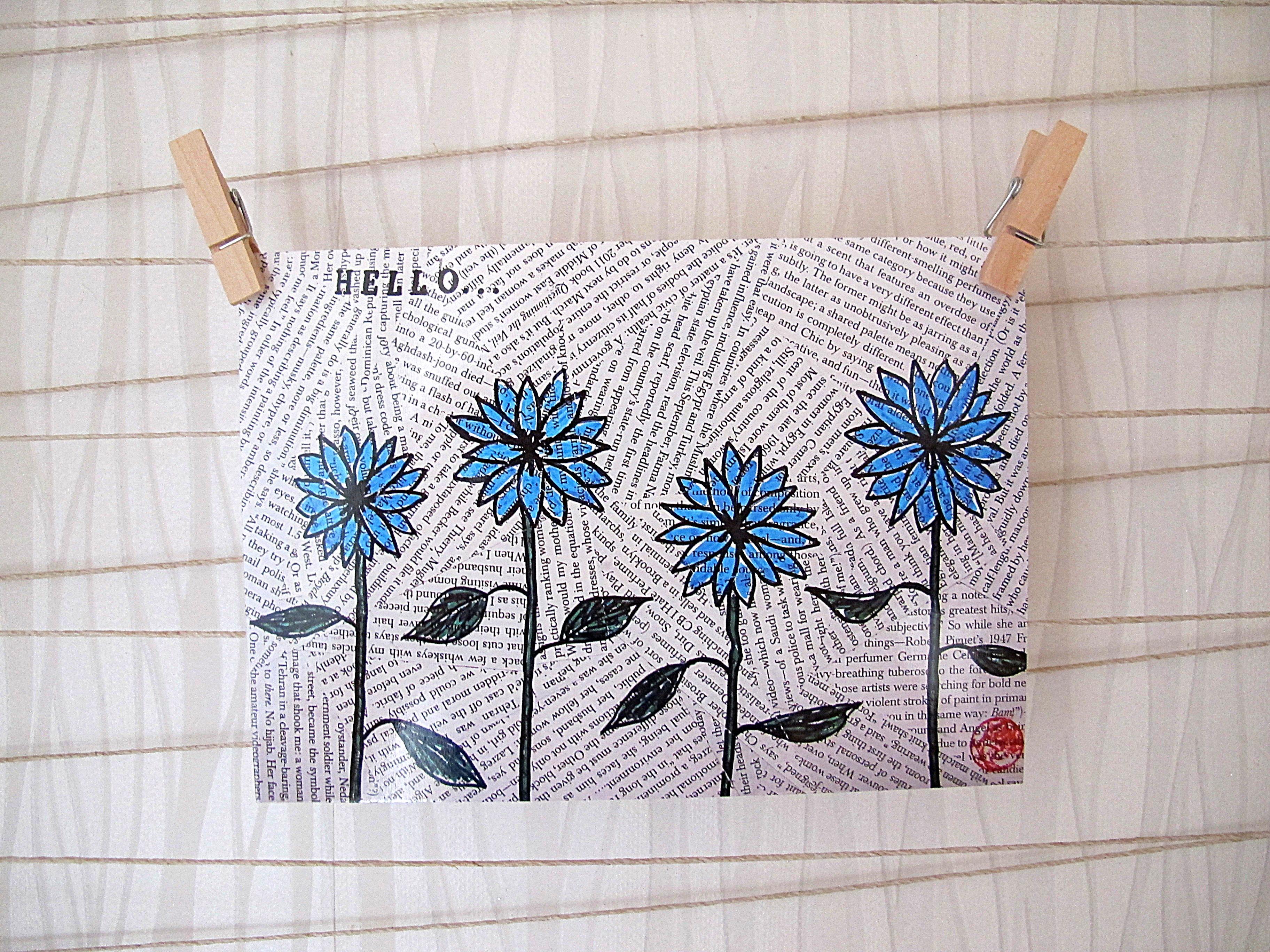 Blue Hello Postcard